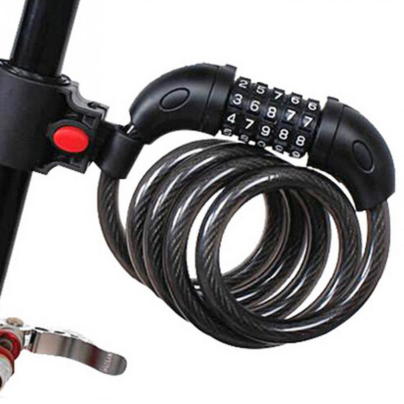 random color mini bike lock fold backpack cycling helmet bicycle cable lock 3 digit combination anti theft bike bicycle lock Bike Anti Theft Helmet 5 Digit Password Bicycle Lock For Scooter Motorcycles Cycling Safety Portable MTB Spring Cable Locks