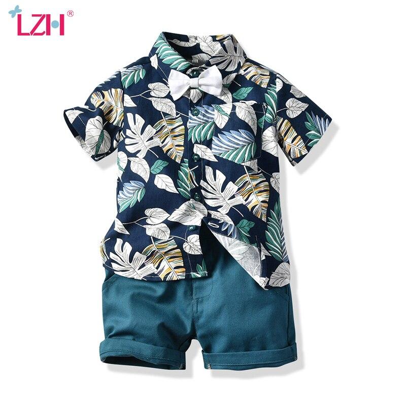 Ropa Infantil para bebés, verano 2020, conjuntos de ropa para niños pequeños, camisa + Pantalones cortos con estampado de caballero para la playa, conjunto de traje deportivo para niños