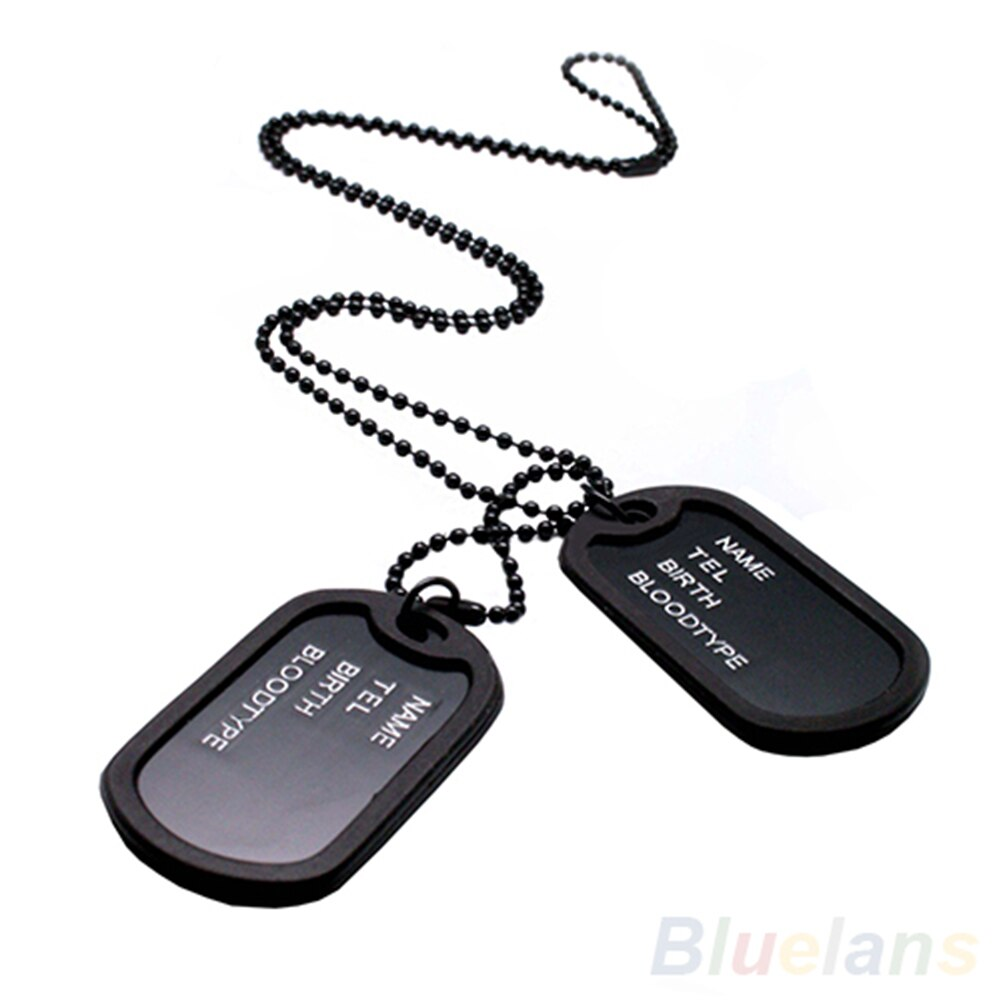 Military Army Style Black 2 Dog Tags Pendant Sweater Chain Necklace Men's Jewelry Necklace Jewelry for Men Colar Chain Necklace