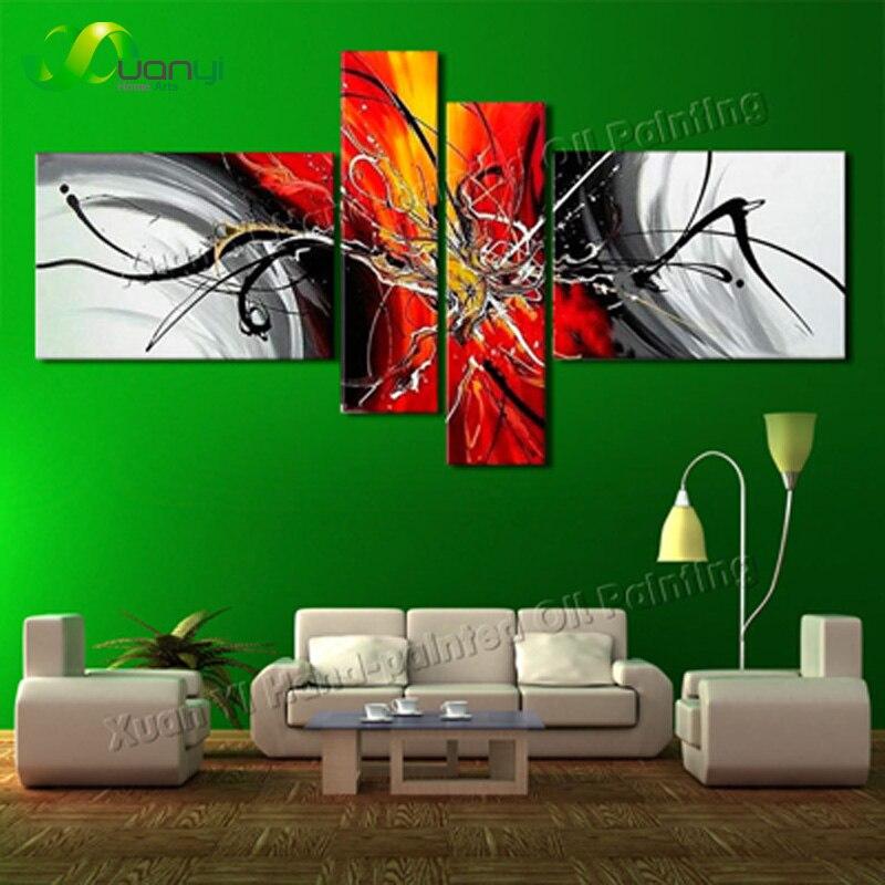 Pintado a mano pintura al óleo abstracta moderna en lienzo pintado a mano abstracto 4 paneles imagen de pared grande para decoración de pared arte sin marco