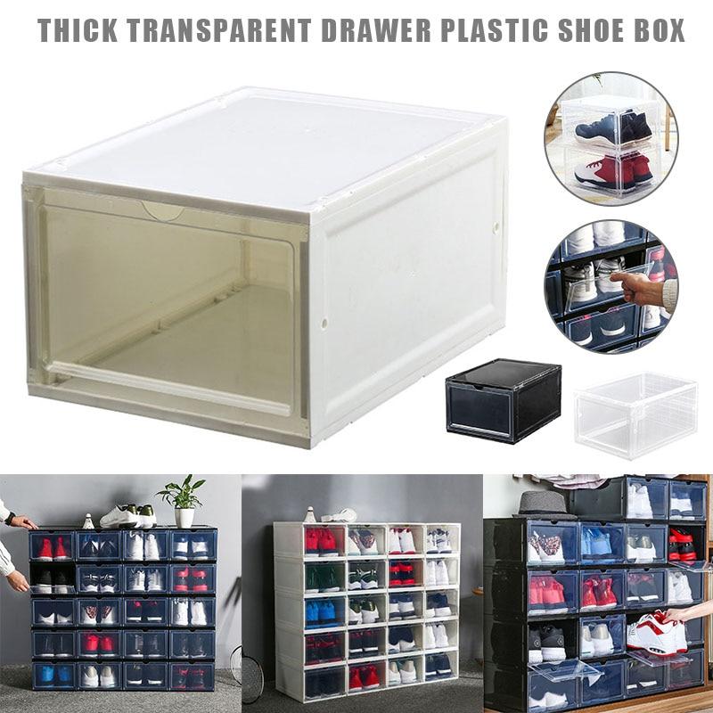 Caja de almacenamiento de plástico para zapatos de arranque caja apilable organizador de cajón hogar LBShipping