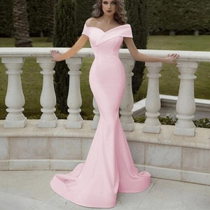 Off Shoulder Pink Evening Dresses Mermaid Simple Prom Dress Zipper Back Plus Size Formal Party Gowns Robe De Soiree Cheap 2020