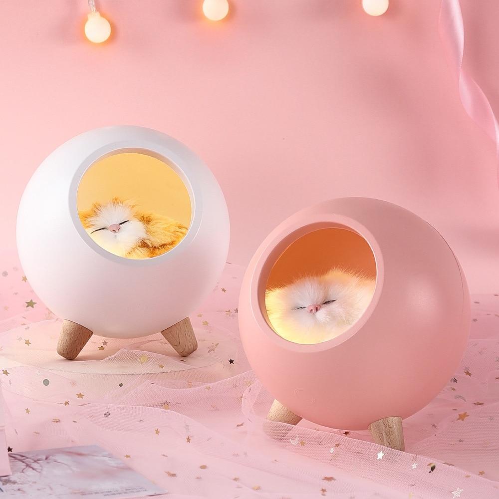 Creative Home Bedside Decoration Cute USB Atmosphere Lamp Sleeping Cat Litter Night Light