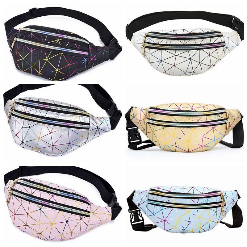 Women Cheap Laser Chest Bag Female Fanny Pack Geometric Fashion Waist Bags Hot Sale Phone Pouch Bag Chest Belt Bag High Quality