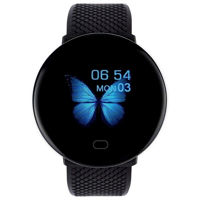 Reloj inteligente D19, pulso, presión arterial, salud, SmartWatch, pulsera, rastreador de Fitness, negro