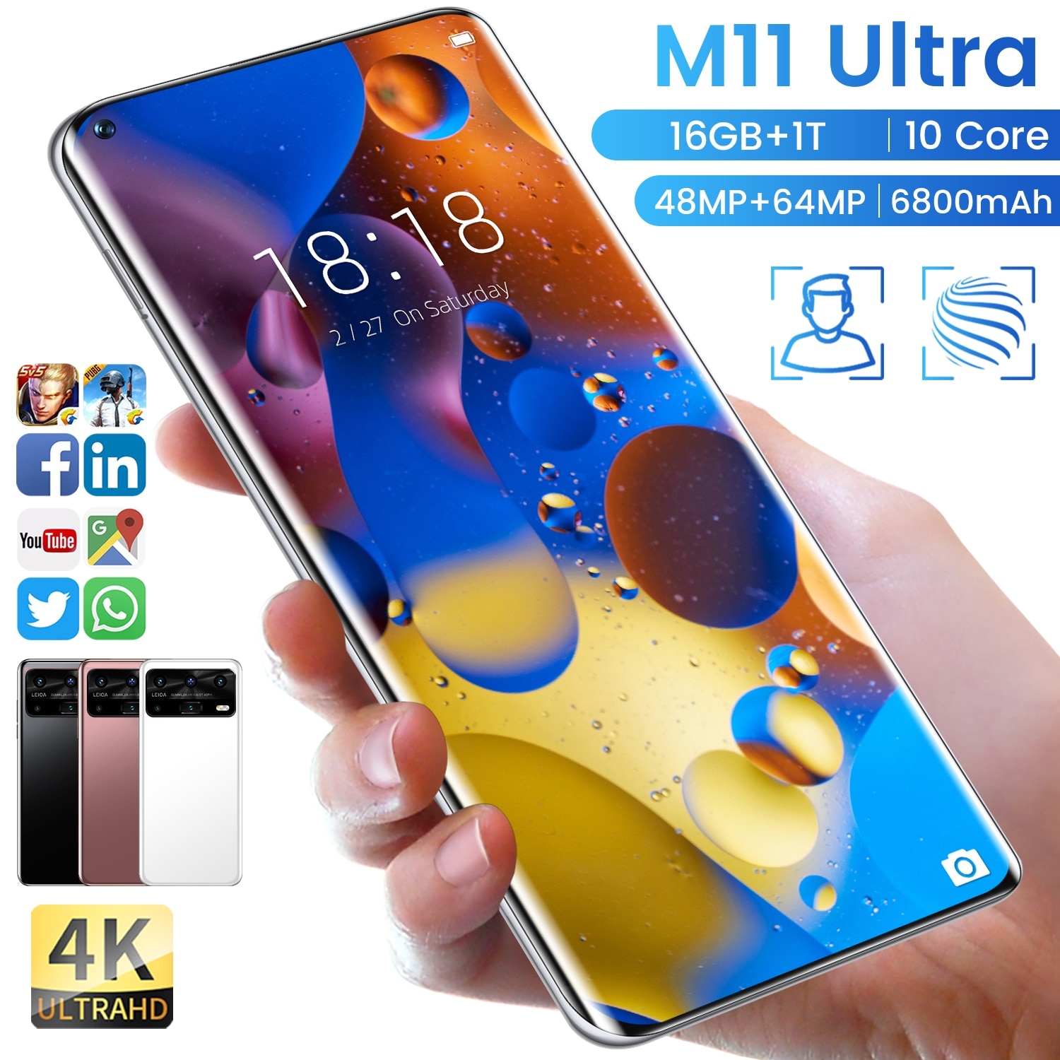 M11 Ultra Smartphone Android 10.0 7.3 HD Inch Mobile Phones 16GB+1T 48MP+64MP Cellphones Celular 5G Phone Global Version note 10 pro smartphone 6 7 inch 24mp 48mp dual sim cards phone global version mobile phones