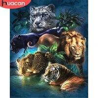 HUACAN     peinture par numeros de Lion  dessin danimal sur toile  peint a la main  cadeau artistique  images de tigre  Kits de decoration de maison