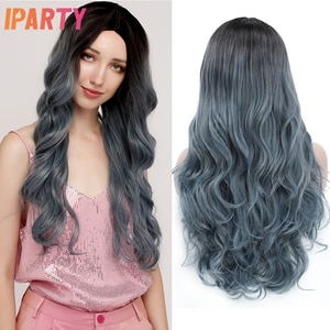 Ombre Blue Synthetic Wig Romantic Wavy Fully Soft Hair Colored Wigs For Women Daily Party Cosplay Heat Resistant Fiber IPARTY