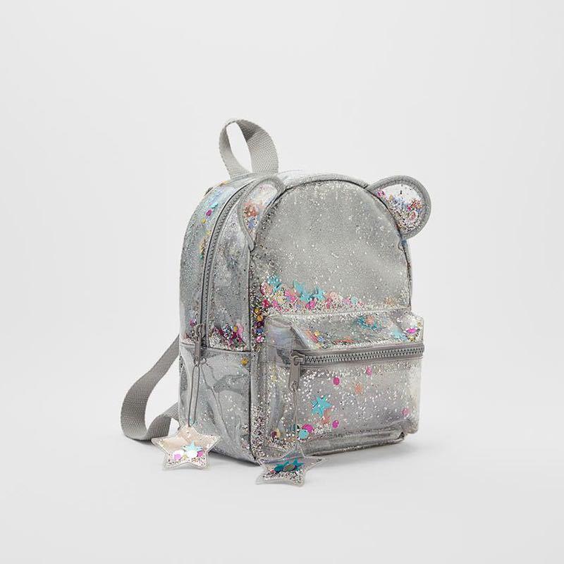 Новинка 2021, серебряный мини-рюкзак с кошачьими ушками и блестками, Женский или милый детский рюкзак с блестками и блестками