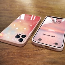 ins Hot Liquid Glass Case for iPhone 11 12 Pro Max Summer Watercolor Luxury Phone Cover for iphone 7