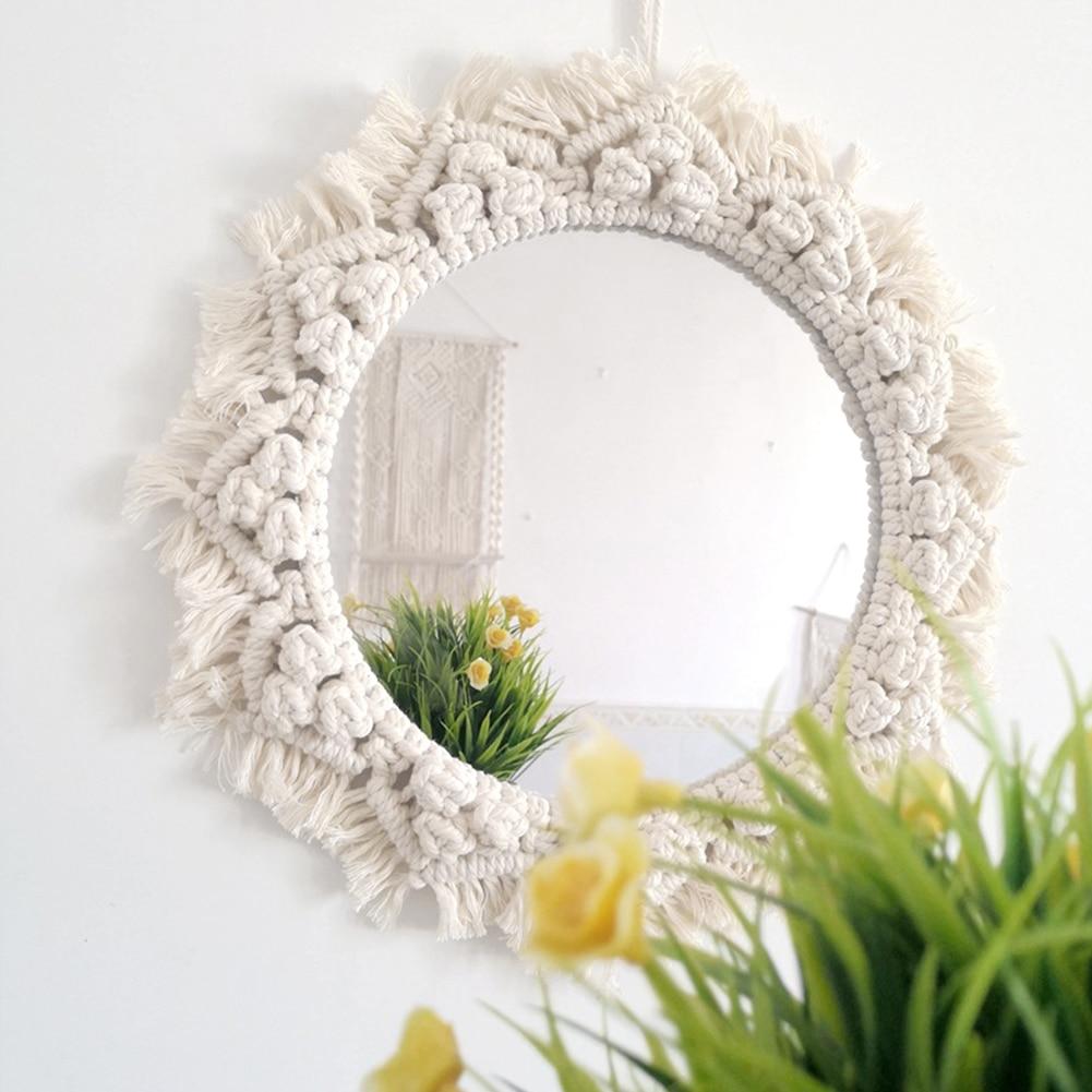 Decoração para Apartamento Sala de Estar Macrame Espelho Artesanal Tapeçaria Maquiagem Compacto Bohemia Quarto Espelhos Parede