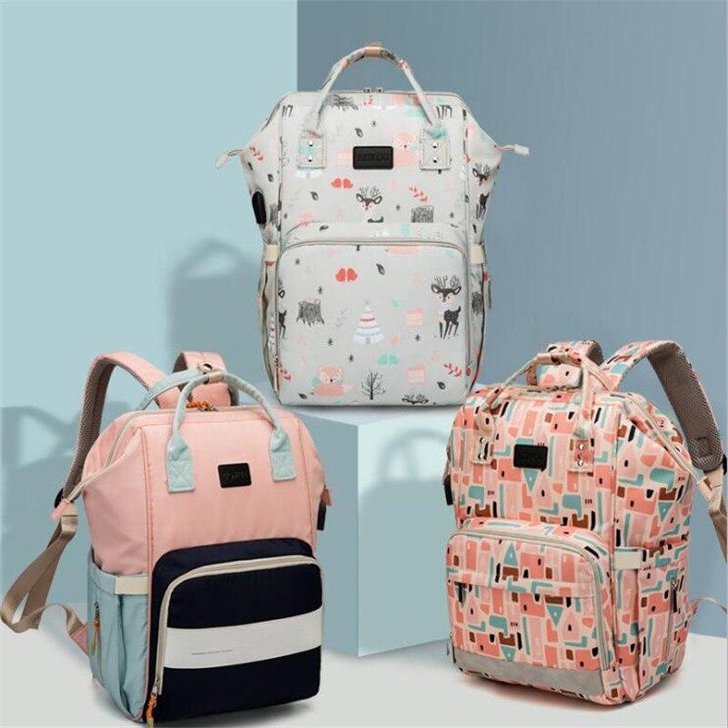 Mochila de viaje BEIKOU con USB para mamá, bolsa impermeable de gran capacidad para cochecito, bolsa de maternidad, bolsa de pañales para bebé