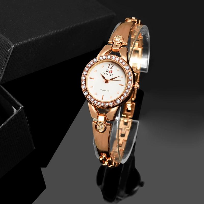 2019  Women Gold Vintage Dimand Luxury Clock Women Bracelet Watch Ladies Brand Luxury Stainless Steel Women Clock Gifts