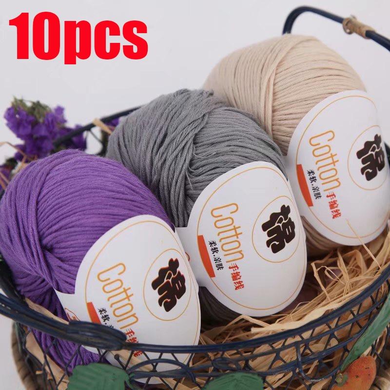 10pcs Yarn for Hand Knitting Cotton 100% Soft Combed Thread Crochet 500g Yarn Hand Knitting Colorful Organic Yarn