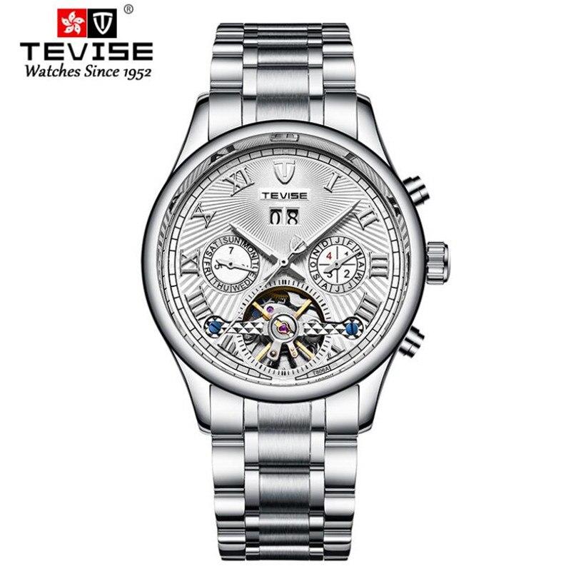 Luxury Stainless Steel Waterproof 30M Mechanical Watch Men's Tourbillon Hollow Men Wrist Watches Cal