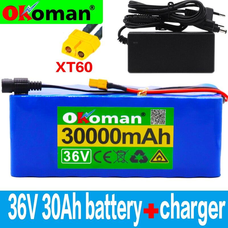 36v 10s4p 30ah 500w alta capacidade 42v 18650 bateria de lítio 30000mah scooter bicicleta elétrica com bms xt60 plug + carregador