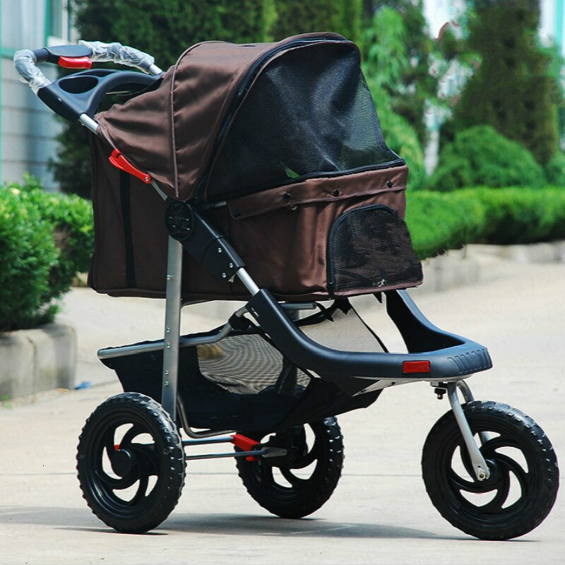 Cochecito plegable ligero para mascotas... carrito para gatos y perros de suministros de salida de gran espacio