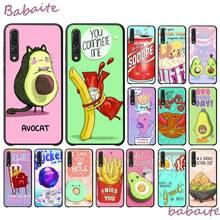 Bonita Hamburguesa de dibujos animados Babaite, comida de aguacate, fonecase negra para HuaweiY9 2018 HONOR 8 8X 9LITE, View 9 10, honor 10, 20 lite