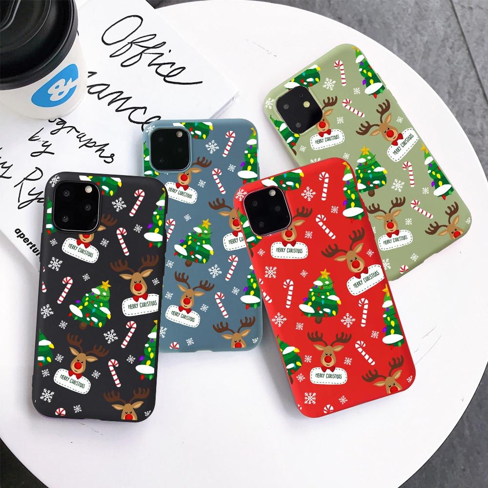 11 casos de telefone de cor para iphone 11 casos de presente de natal para iphone 11 pro xs max xr 8 7 6s plus caso macio tpu capa escudo