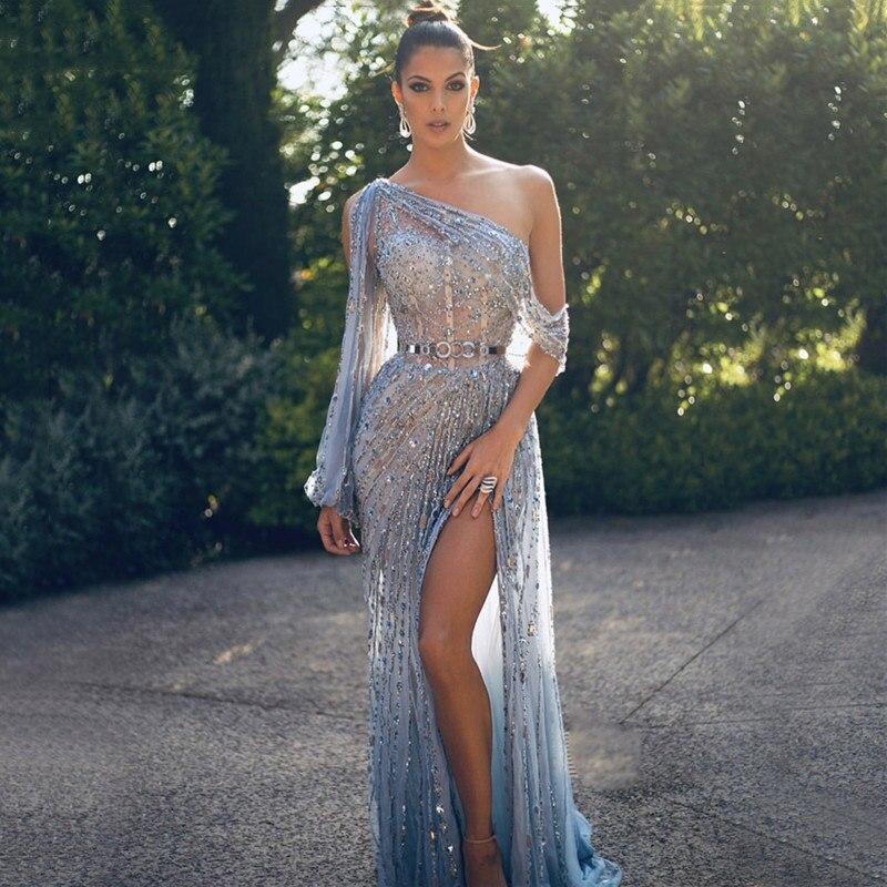 Женское вечернее платье в Дубае, блестящее одно плечо платье с роскошное бисер Кристалл, арабское официальное платье для вечеринки