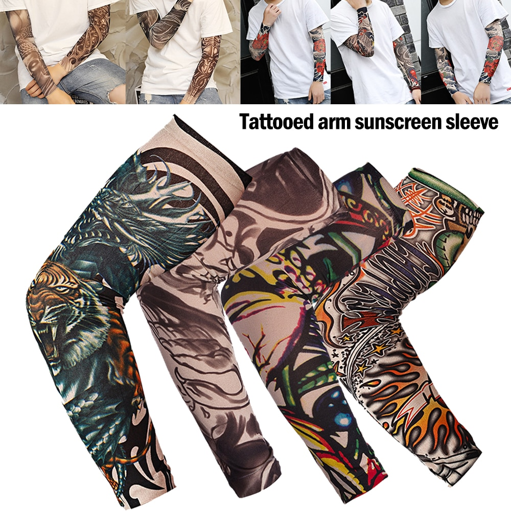 1pcs arm guard smooth arm cover outdoor cycling sleeves fashion 3d tattoo printed arm warmer more style sun protection sleeves 1Pc Outdoor Cycling Sleeves 3D Tattoo Printed Arm Warmer UV Protection MTB Bike Bicycle Sleeves Arm Protection Riding Sleeves