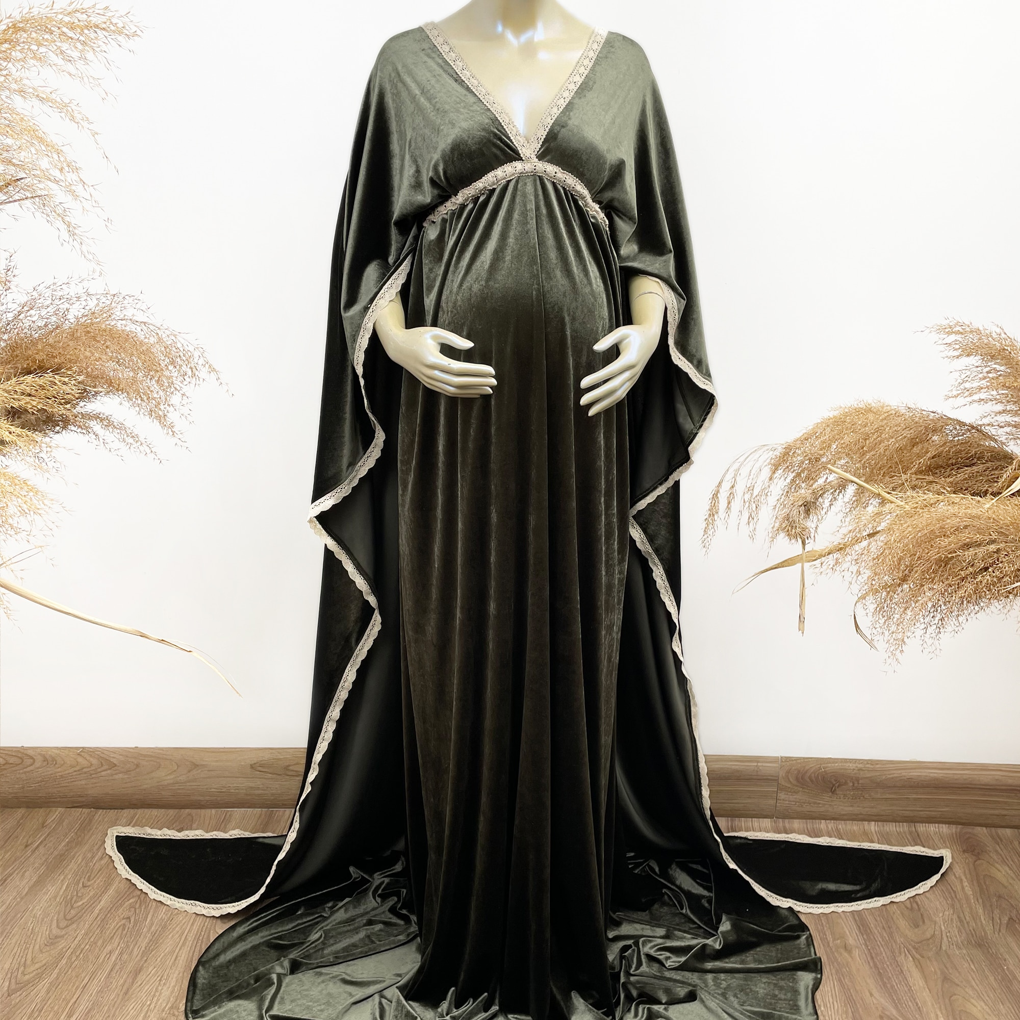 Long Cape Boho Soft Maxi White Edge Maternity Dress Pregnancy Velvet Gown for Woman Photography Prop Baby Shower Costume enlarge