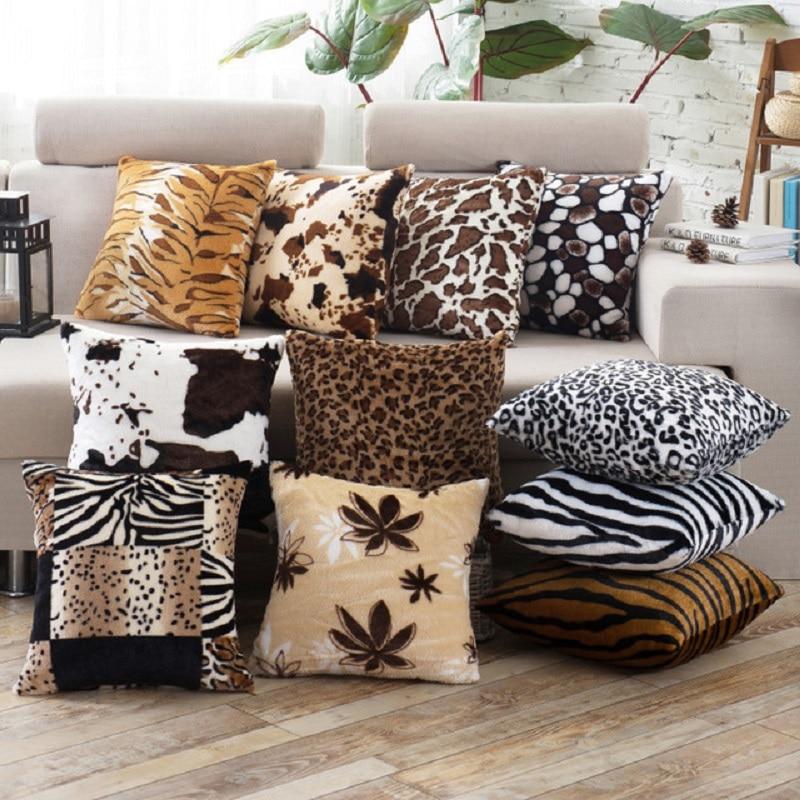 Home Decor Animal Skin Pattern Tiger Cat Cow Leopard Soft Fleece Cheap Sofa Car Faux Fur Cushion Cover Throw Pillow Case Decor