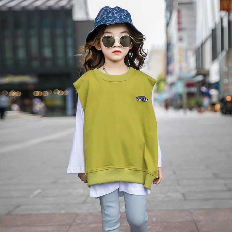 Blusas de algodón para otoño de 2 piezas falsas para niñas Y adolescentes, blusa de gran tamaño 4, 6, 8, 10, 12, 14 Y 16 años