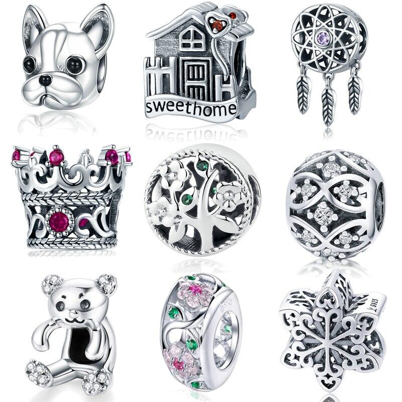 MYBEBOA gran oferta 925 plata esterlina que falta ronda Dream Cather Charms Beads Ajuste Original Pandora brazalete dijes joyería