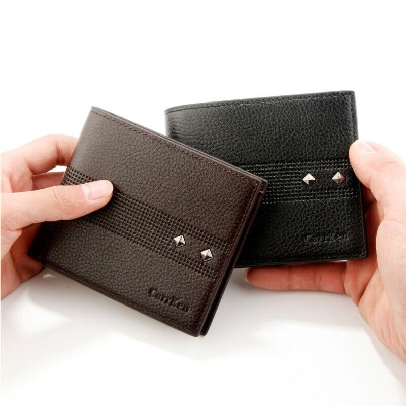 Couro masculino rfid bloqueio carteira boutique bifold bolsa id janela titular do cartão zip coin pocket pouch