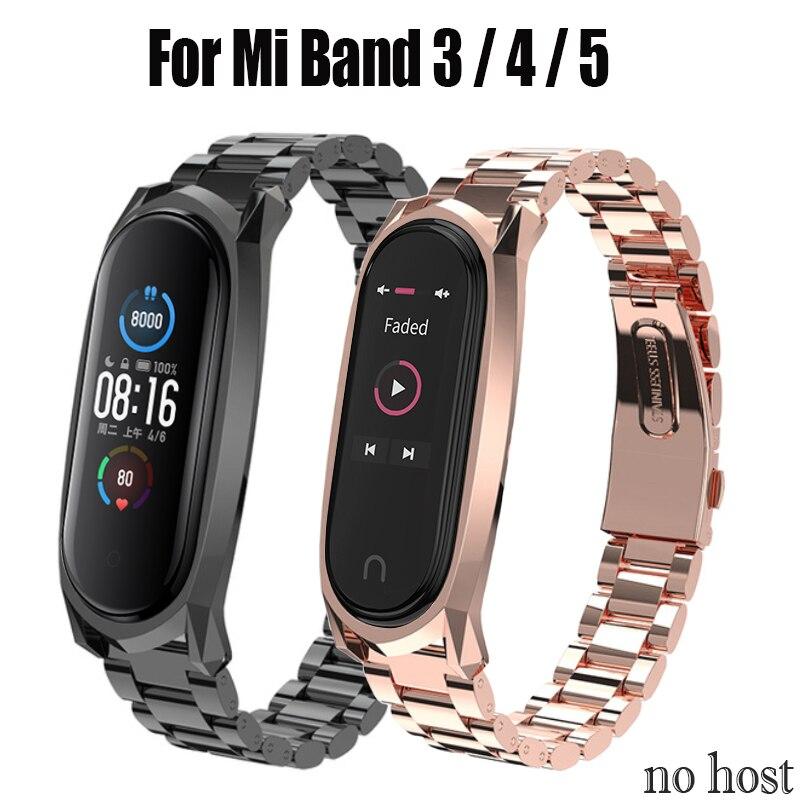 Para Xiaomi Mi Band 5 correa de Metal sin tornillos de acero inoxidable para Xiaomi Mi band 3 4 correa de repuesto de Metal para Mi Band 5