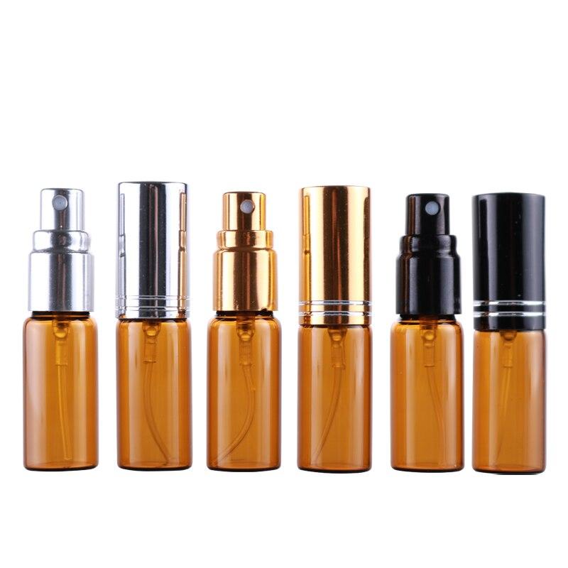 Venta al por mayor 100 unids/lote 5ML Mini portátil Brownl botella de Perfume de cristal con anillo de aluminio atomizador vacío frasco para uso cosmético