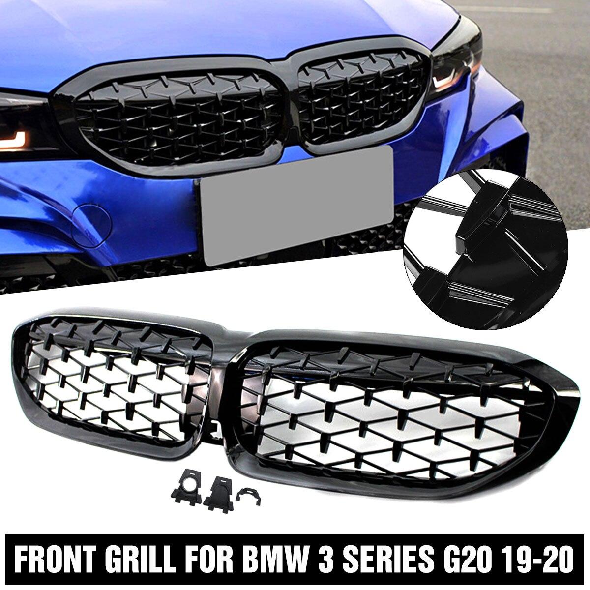 Estilo diamante amortecedor dianteiro rim grill corrida gloss preto para bmw série 3 g20 g21 2019-2020 51138072085