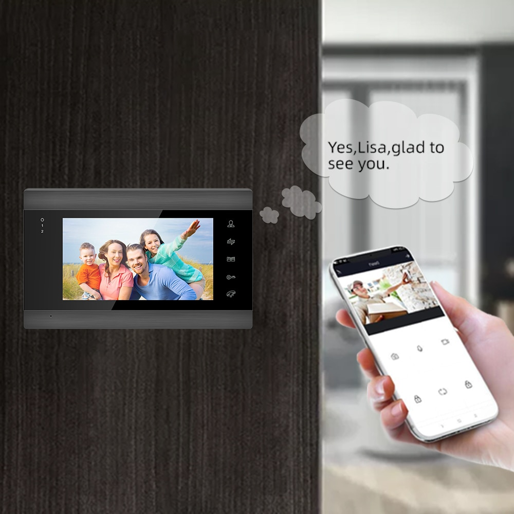 Wireless Wifi Video Intercom System for Home Video Intercom Support Remote Unlock,Motion Detect Record Door Camera enlarge