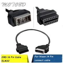 Interface de Diagnostic de voiture et de véhicule, pour Nisan, adaptateur à 14 broches vers 16 broches, OBD II