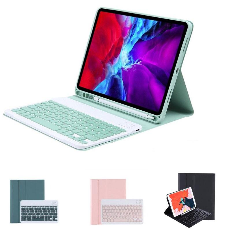 جديد لوحة المفاتيح اللاسلكية بلوتوث حافظة لجهاز iPad Air4 10.9th 2020 رقيقة جدا كاندي الألوان واقية مع فتحة القلم اللوحي لوحة المفاتيح