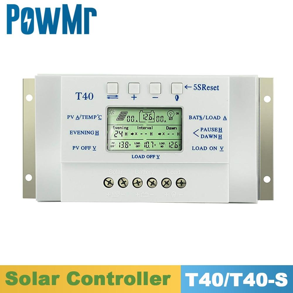 MPPT 40A الشمسية تهمة و التفريغ تحكم 12V 24V LCD USB منظم مع الحمل المزدوج الموقت التحكم ل نظام الإضاءة الشمسية