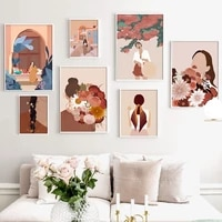 Figure abstraite mode Vintage fille mur Art toile peinture nordique affiches et impressions photos murales salon decor a la maison