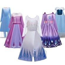 Robe pâtée de princesse reine des neiges Elsa et Anna pour filles, déguisement dhalloween, robe Cosplay danniversaire, nouvelle collection