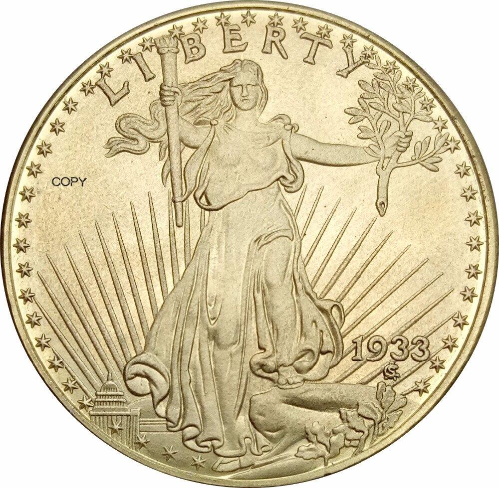 1933 Соединенные Штаты Америки Статуя Свободы двадцать долларов Saint Gaudens двойной Орел с девизом латунные металлические копии монет