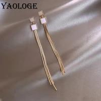 yaologe long earrings for women party elegant charming gold tassel earrings dangle square fashion jewelry accessories 2020