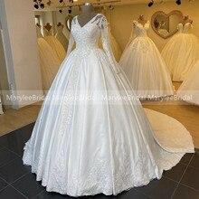 긴 소매 웨딩 드레스 v-목 빈티지 볼 가운 신부 드레스 골치 아픈 건 겨울 결혼식을위한 럭셔리 로얄 기차 드레스