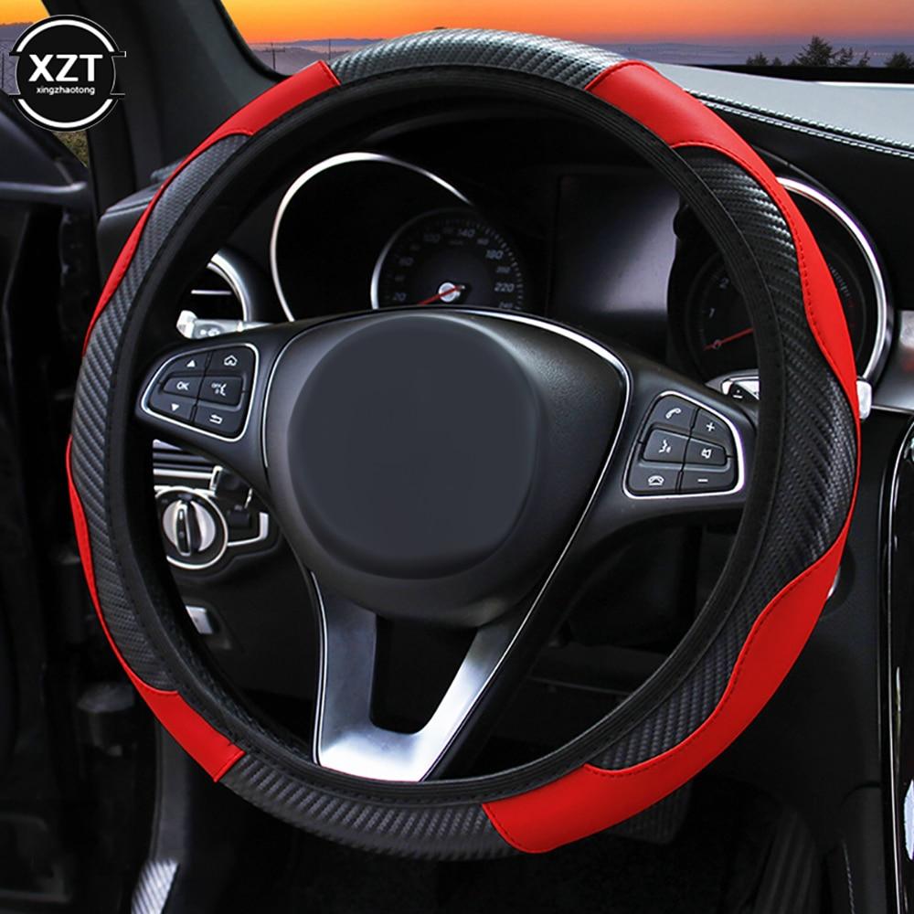 Car Steering Wheel Cover Anti Slip PU Leather Steering Covers Suitable 37-38cm ACarbon Fiber Car Decoratio Car Accessories