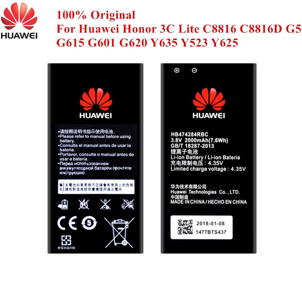 100% batería Original HB474284RBC para Huawei Honor 3C Lite C8816 C8816D G521 G615 G601 G620 Y635 Y523 Y625 Y550 Y560 y5 2000mAh