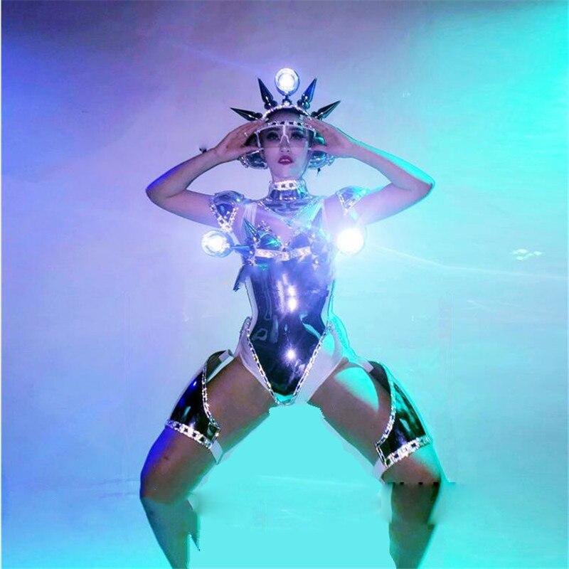 Traje de Robot para mujer, club nocturno, bar, pasarela, Shows, Sexy vestido de noche de mujer, traje de Metal plateado, equipo de baile, traje de LED para el espacio exterior