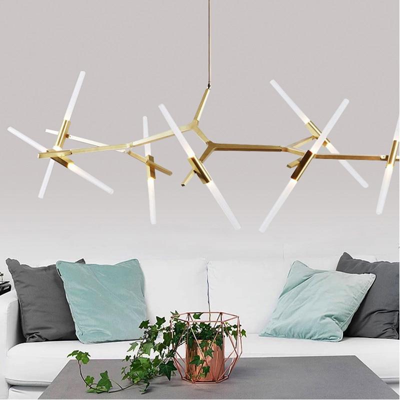 الشمال الذهب الأسود الفن صناعة إيطاليا مصمم الثريا المنزل إضاءة ديكوريّة قابل للتعديل LED مصباح معلق تركيبات غرفة المعيشة