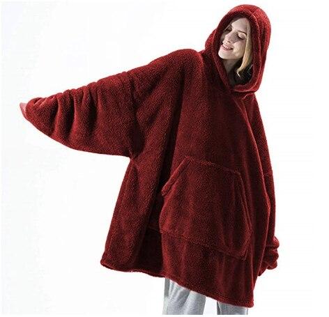Одеяло с рукавами, Женская Толстовка большого размера, флисовые теплые толстовки, свитшоты, огромное одеяло для телевизора, женское худи, ха...