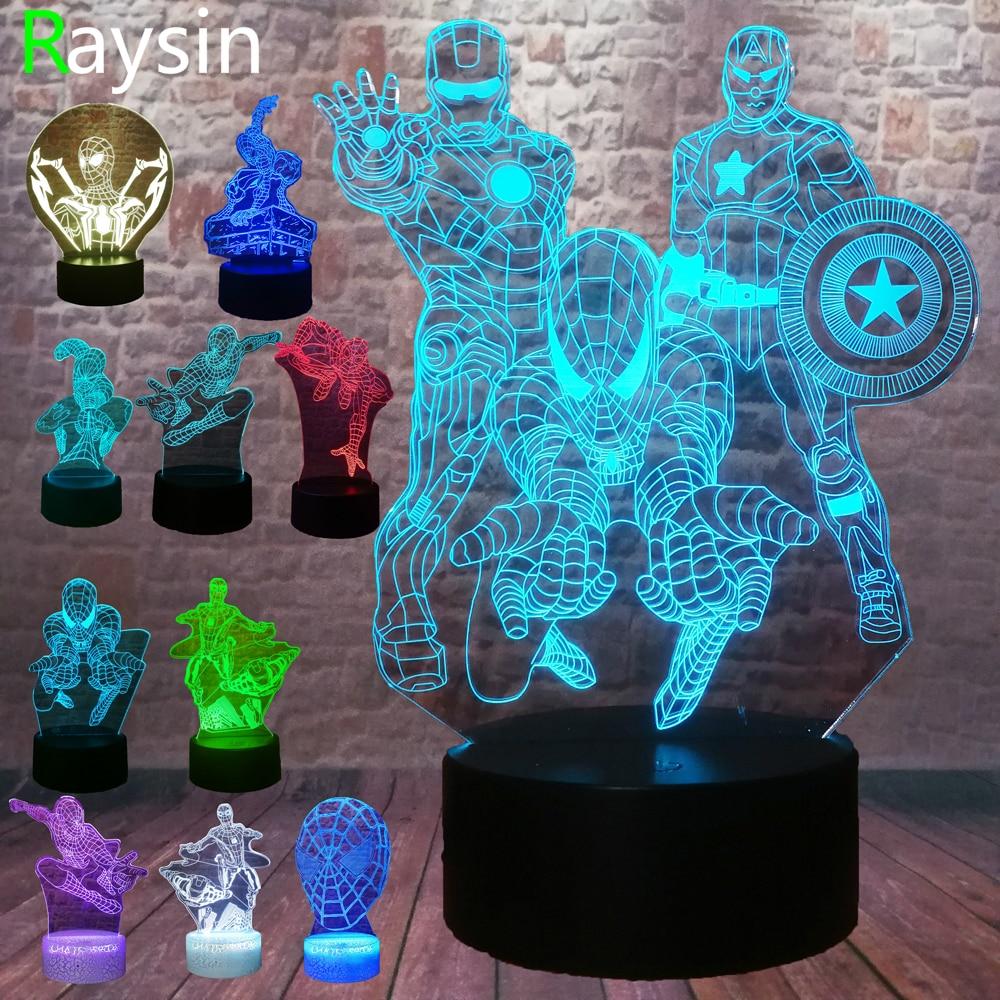 5 Different Superhero Man Figure Spiderman 3D Lamp 7 Color Led Gradient Night Light Kids Lampara Sleeping Creative Festival Gift