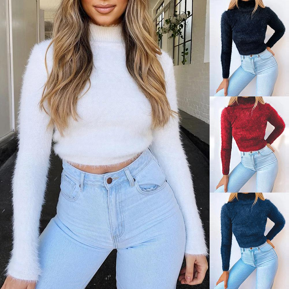 New Autumn Sweater Solid Color Long Sleeve Turtleneck Sweater Women Pullover Sweater Padded Velvet Warm Top Plus Size
