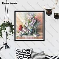Mosaique de diamant 5D  point de croix  fleur  perceuse complete  peinture en diamant  image dart murale  broderie en strass  faite a la main pour decoration de maison